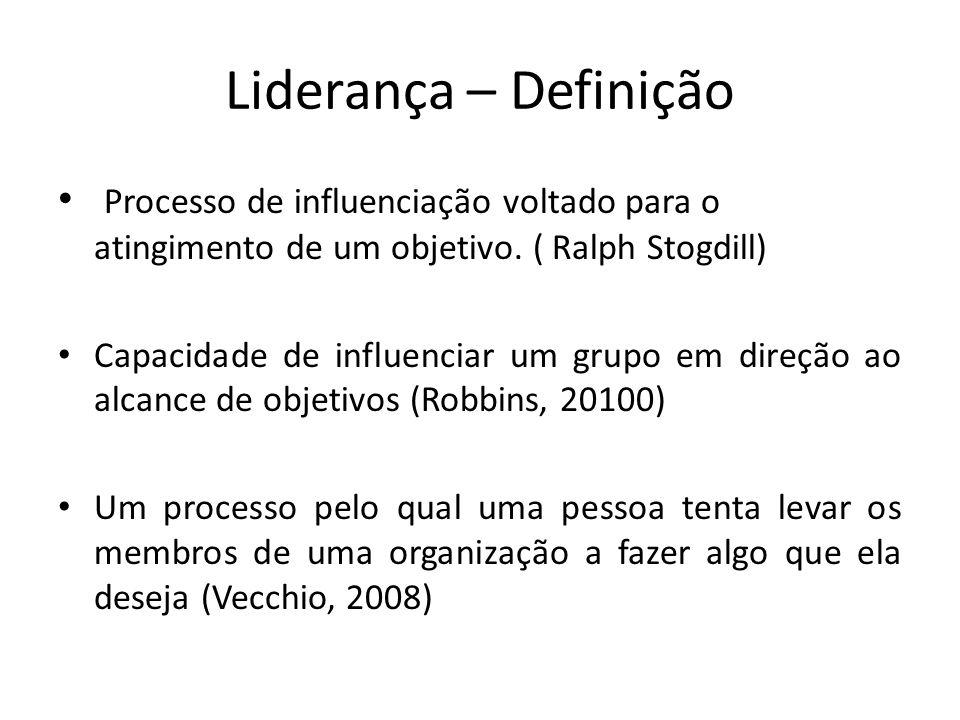 Liderança – Definição Processo de influenciação voltado para o atingimento de um objetivo. ( Ralph Stogdill)