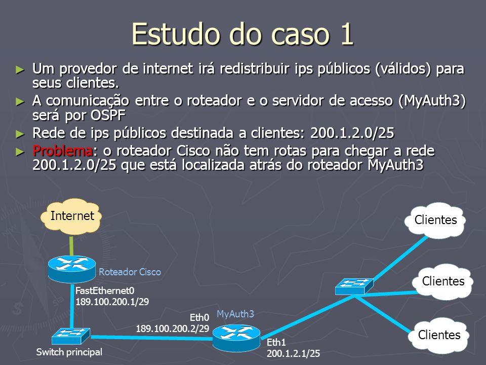 Estudo do caso 1 Um provedor de internet irá redistribuir ips públicos (válidos) para seus clientes.