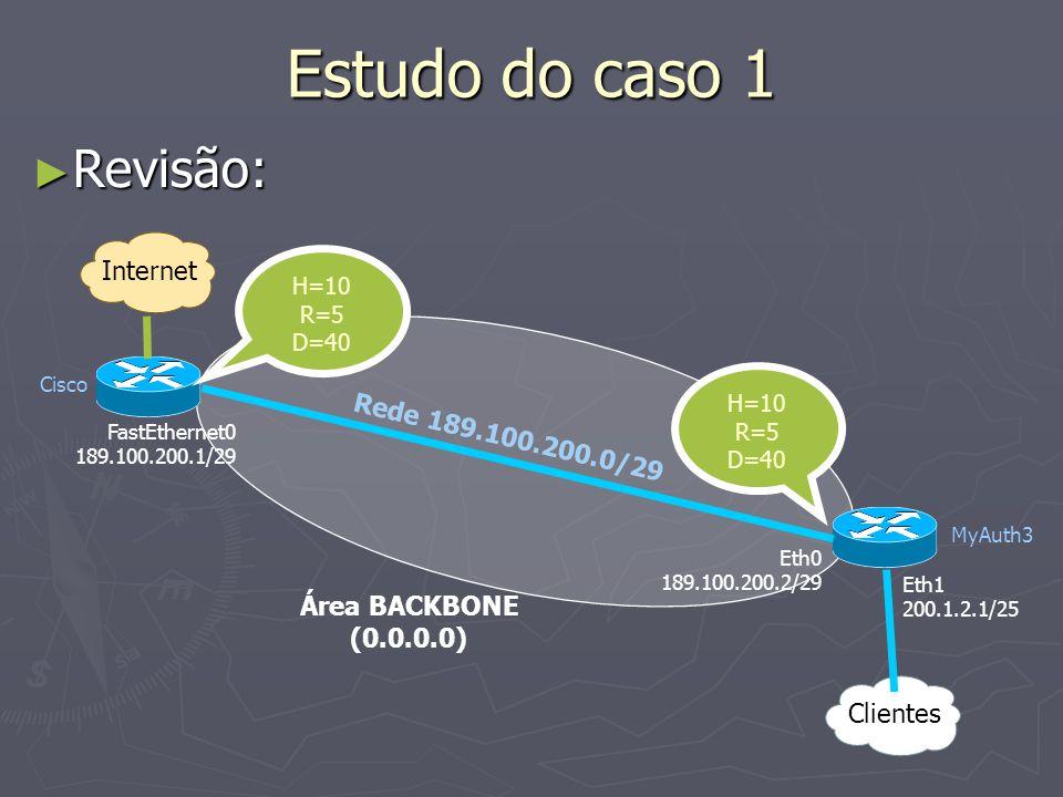 Estudo do caso 1 Revisão: Internet Rede 189.100.200.0/29 Área BACKBONE