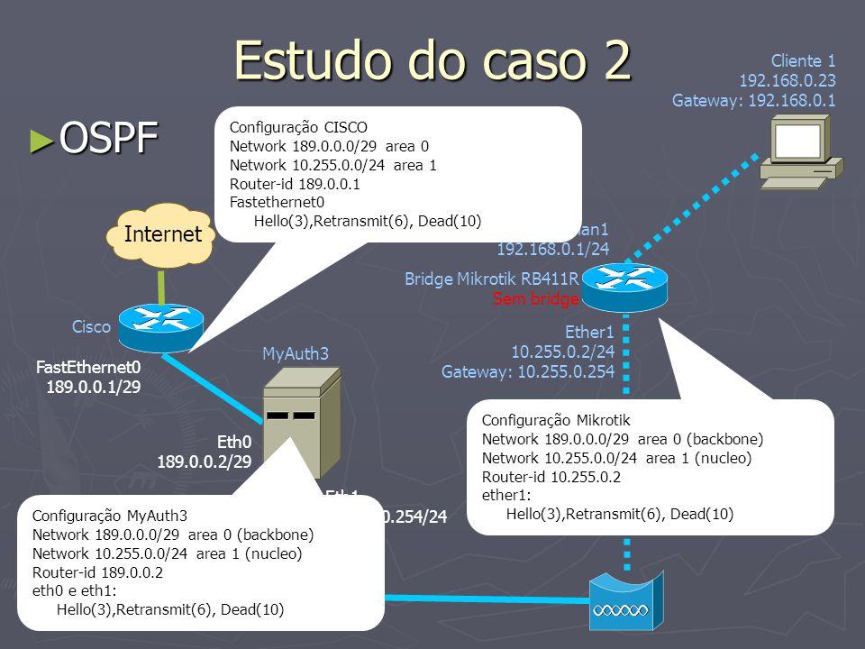 Estudo do caso 2 OSPF Internet Cliente 1 192.168.0.23