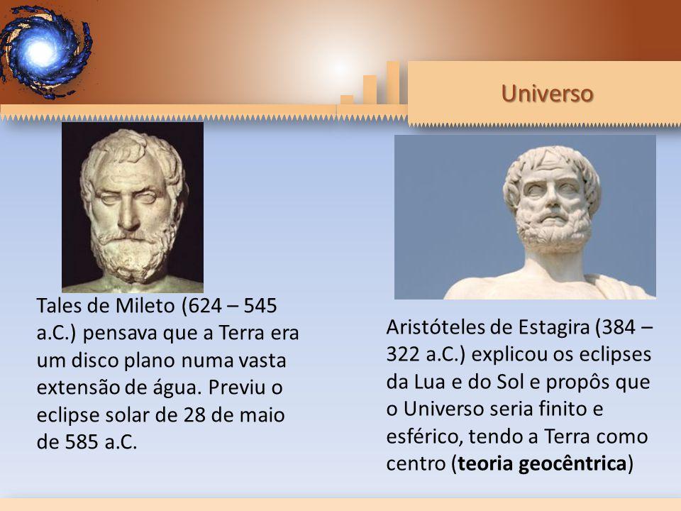 Tales de Mileto (624 – 545 a.C.) pensava que a Terra era um disco plano numa vasta extensão de água. Previu o eclipse solar de 28 de maio de 585 a.C.