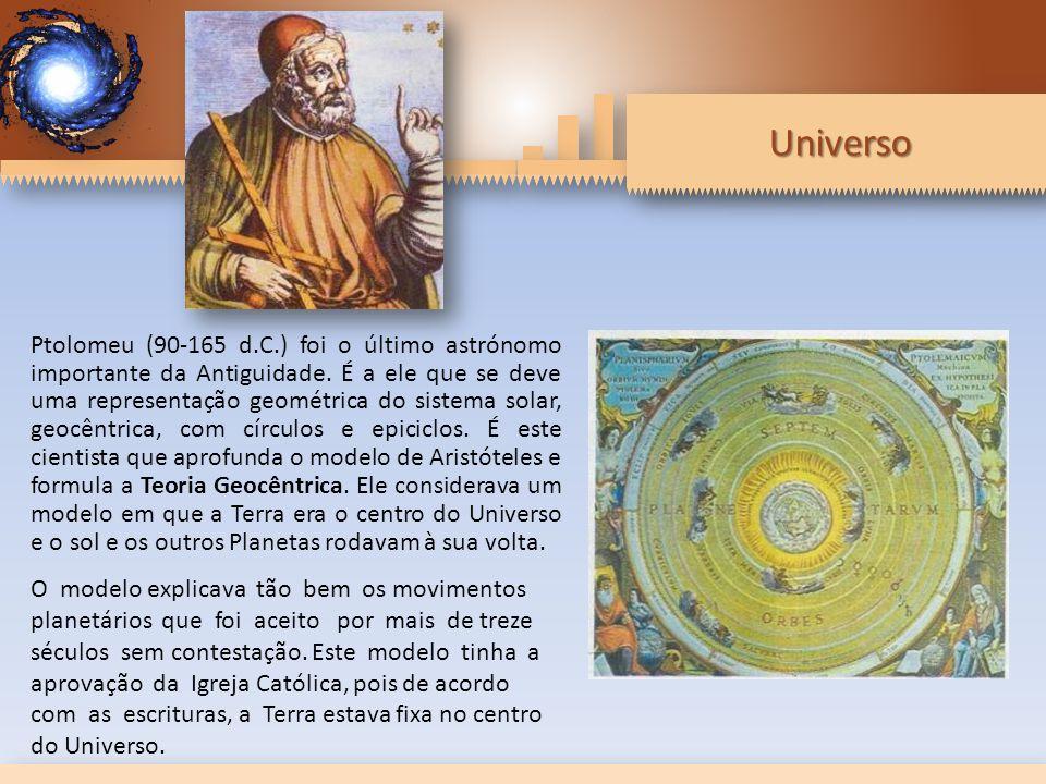 Ptolomeu (90-165 d.C.) foi o último astrónomo importante da Antiguidade. É a ele que se deve uma representação geométrica do sistema solar, geocêntrica, com círculos e epiciclos. É este cientista que aprofunda o modelo de Aristóteles e formula a Teoria Geocêntrica. Ele considerava um modelo em que a Terra era o centro do Universo e o sol e os outros Planetas rodavam à sua volta.