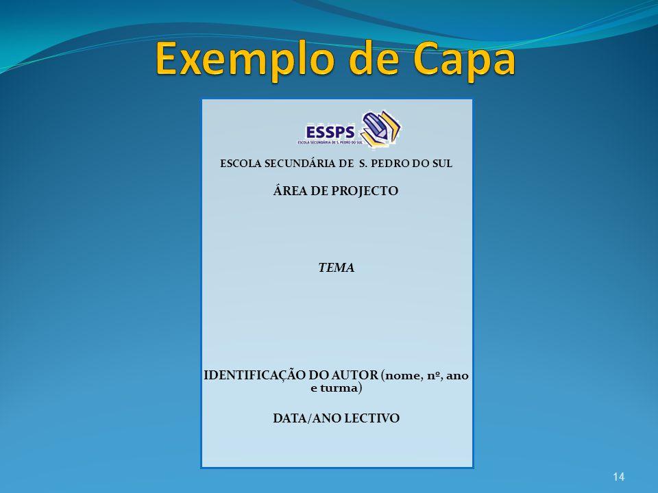 Exemplo de Capa ÁREA DE PROJECTO TEMA