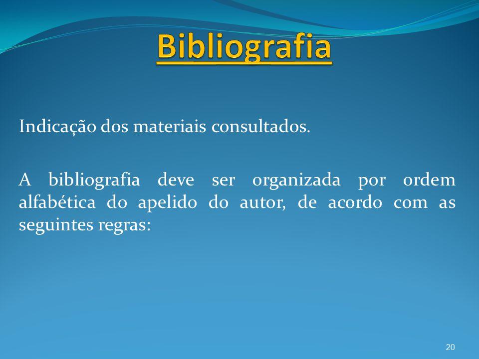 Bibliografia Indicação dos materiais consultados.