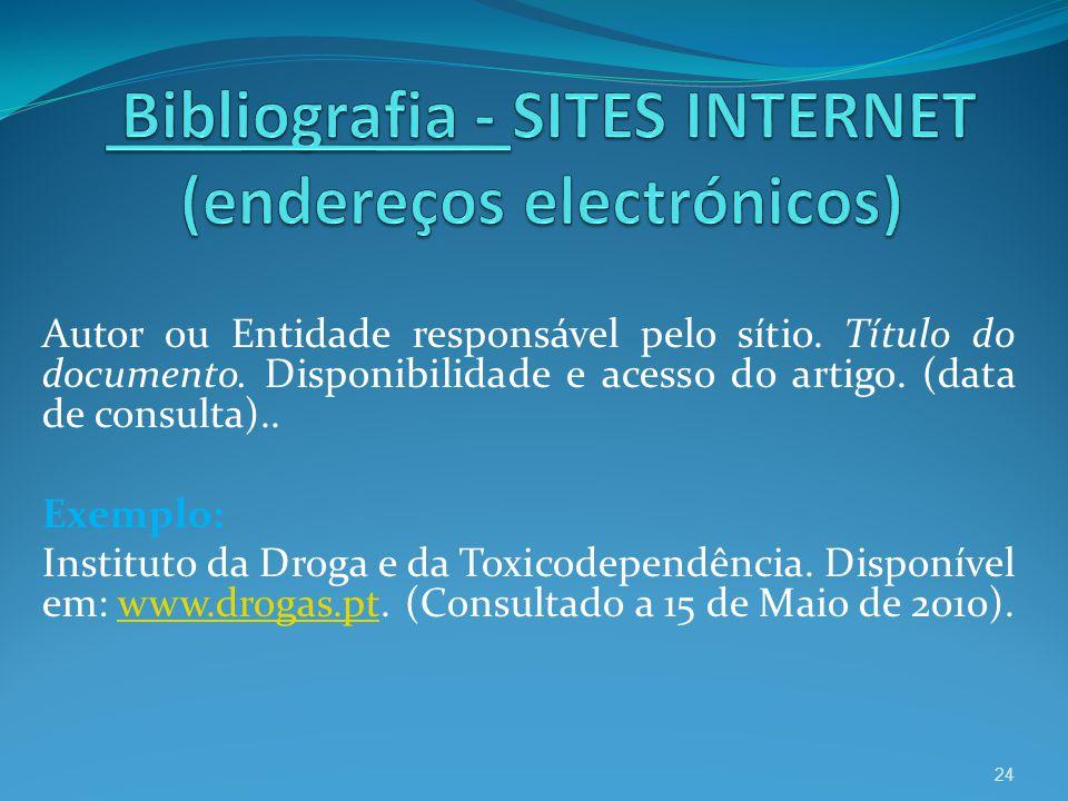Bibliografia - SITES INTERNET (endereços electrónicos)