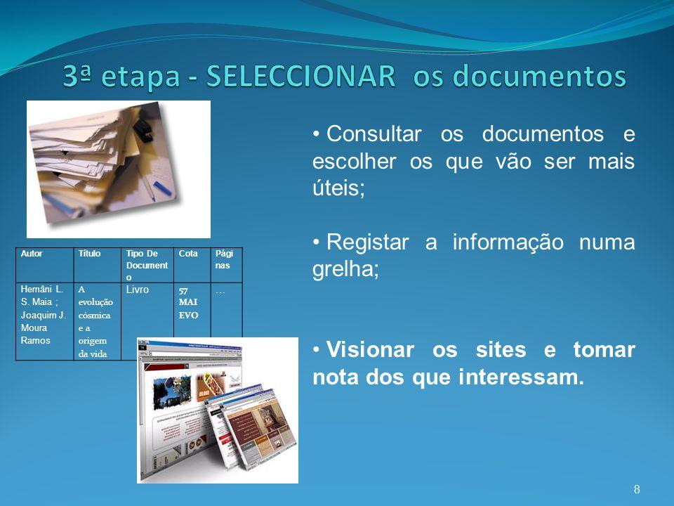 3ª etapa - SELECCIONAR os documentos