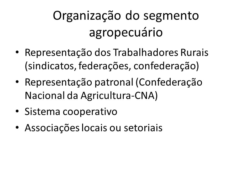 Organização do segmento agropecuário