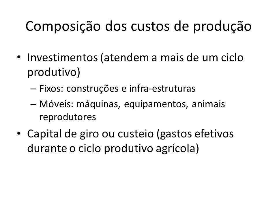 Composição dos custos de produção