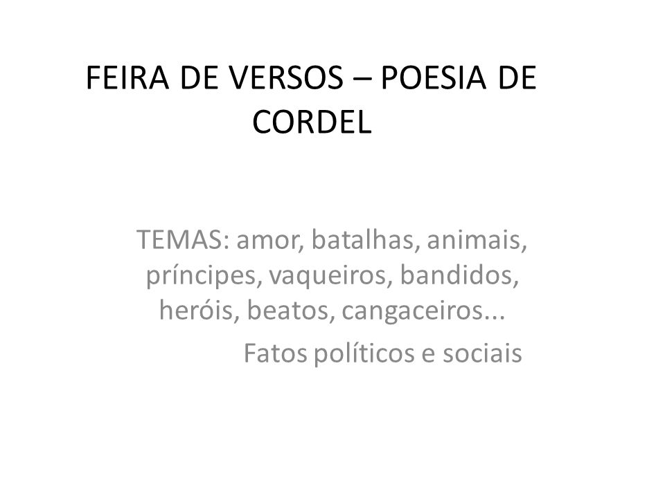 FEIRA DE VERSOS – POESIA DE CORDEL