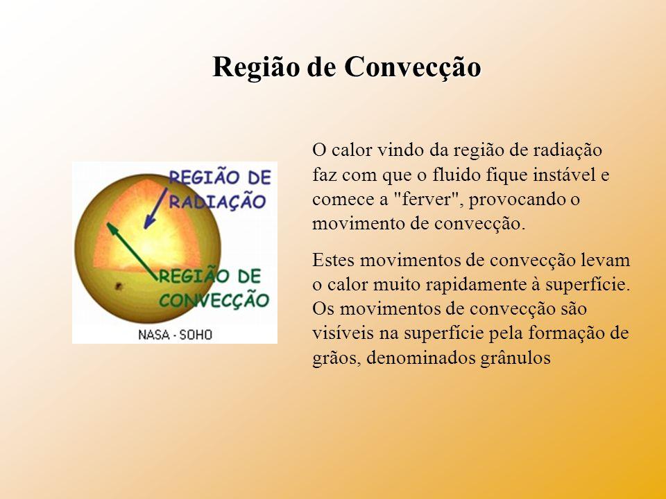 Região de Convecção O calor vindo da região de radiação faz com que o fluido fique instável e comece a ferver , provocando o movimento de convecção.