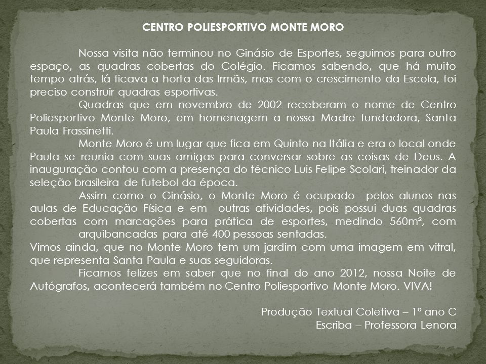 CENTRO POLIESPORTIVO MONTE MORO
