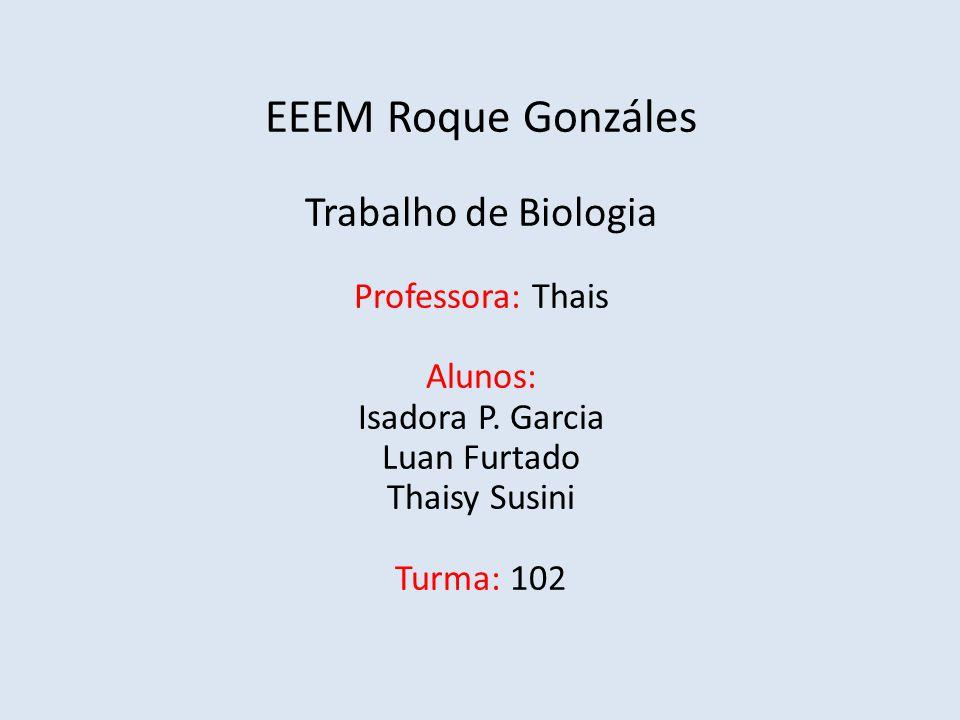 EEEM Roque Gonzáles Trabalho de Biologia Professora: Thais Alunos: