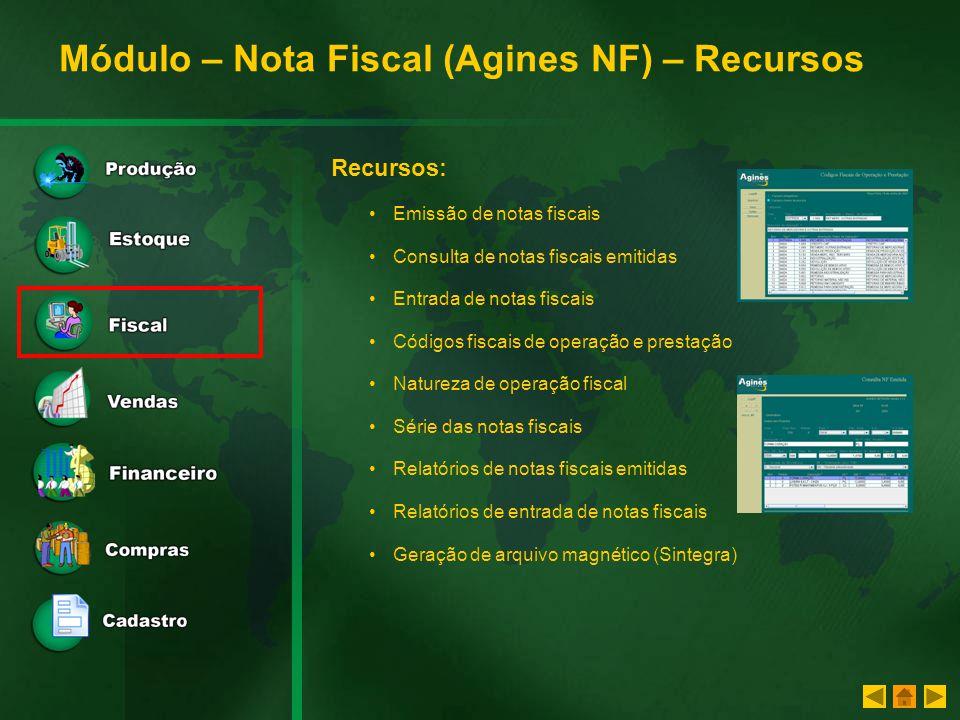 Módulo – Nota Fiscal (Agines NF) – Recursos