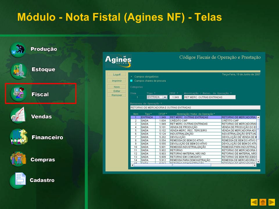 Módulo - Nota Fistal (Agines NF) - Telas