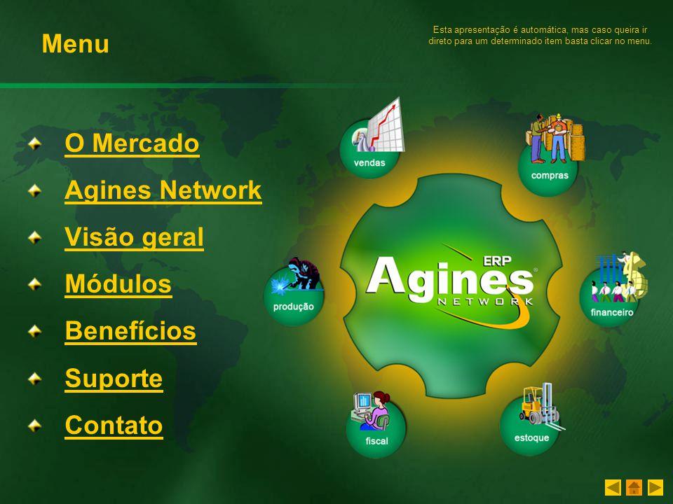 Menu O Mercado Agines Network Visão geral Módulos Benefícios Suporte
