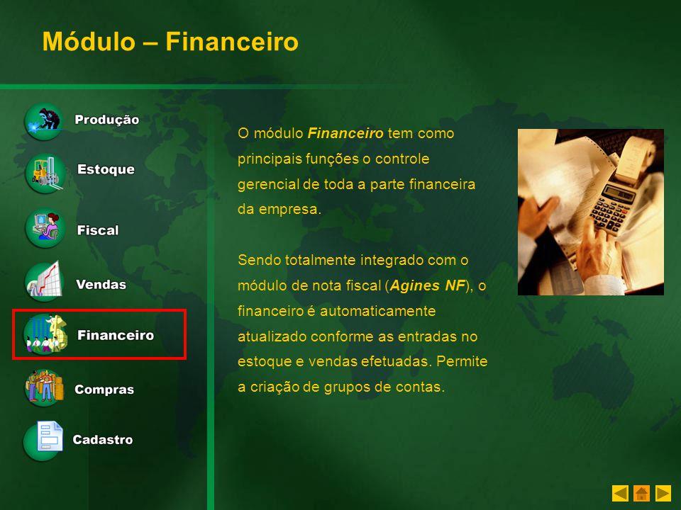 Módulo – Financeiro O módulo Financeiro tem como principais funções o controle gerencial de toda a parte financeira da empresa.