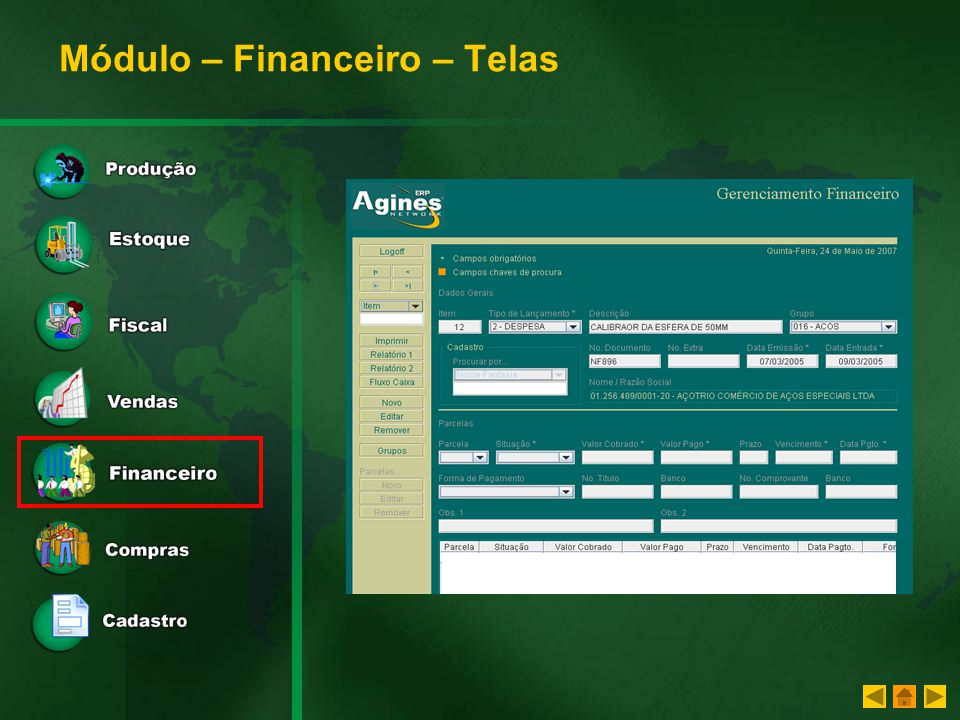 Módulo – Financeiro – Telas