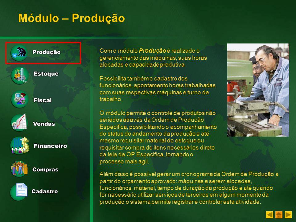 Módulo – Produção Com o módulo Produção é realizado o gerenciamento das máquinas, suas horas alocadas e capacidade produtiva.