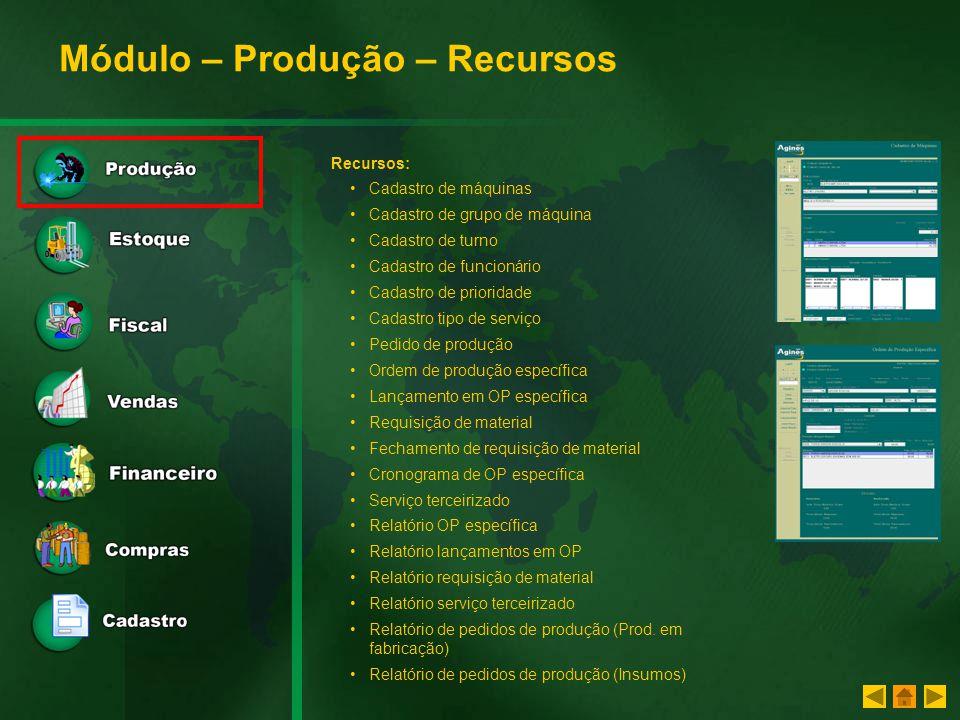 Módulo – Produção – Recursos