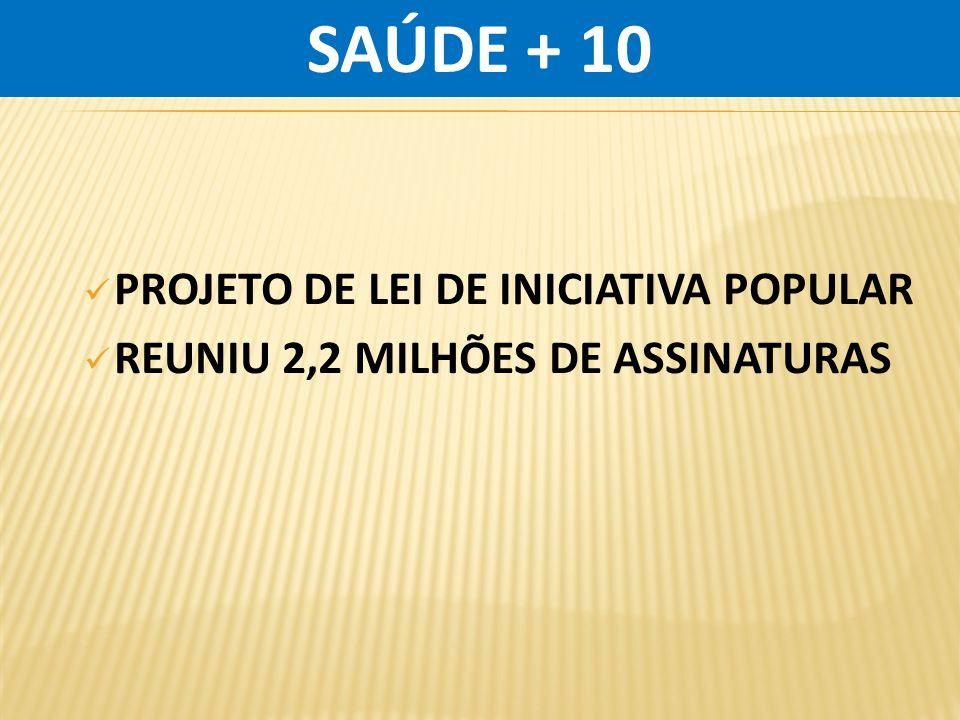 SAÚDE + 10 PROJETO DE LEI DE INICIATIVA POPULAR
