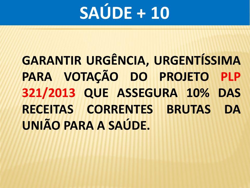 SAÚDE + 10 GARANTIR URGÊNCIA, URGENTÍSSIMA PARA VOTAÇÃO DO PROJETO PLP 321/2013 QUE ASSEGURA 10% DAS RECEITAS CORRENTES BRUTAS DA UNIÃO PARA A SAÚDE.