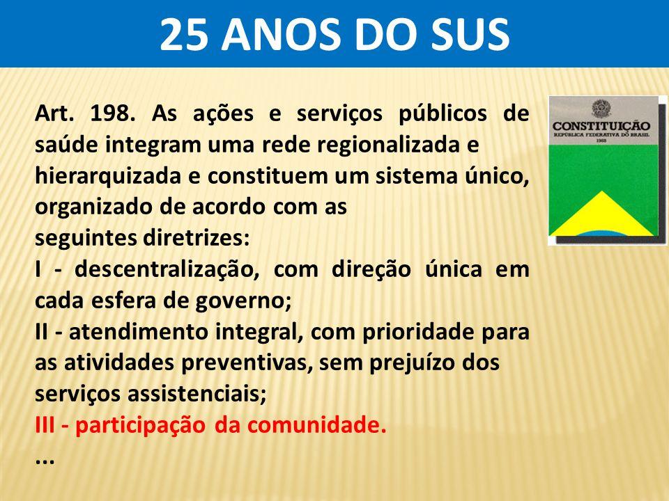 25 ANOS DO SUS Art. 198. As ações e serviços públicos de saúde integram uma rede regionalizada e.