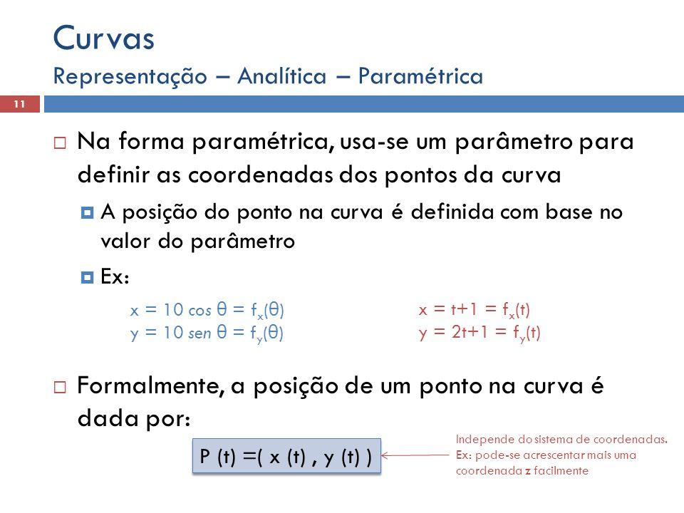 Curvas Representação – Analítica – Paramétrica. Na forma paramétrica, usa-se um parâmetro para definir as coordenadas dos pontos da curva.