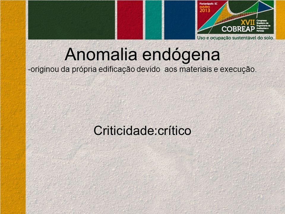 Anomalia endógena -originou da própria edificação devido aos materiais e execução.