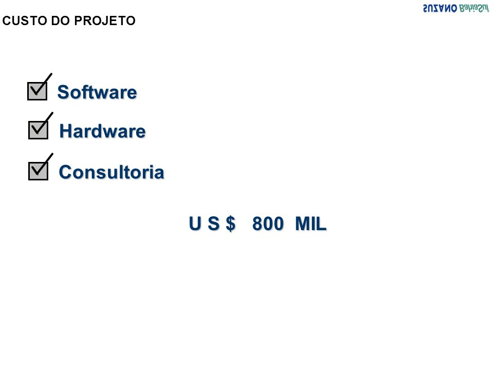 CUSTO DO PROJETO Software Hardware Consultoria U S $ 800 MIL