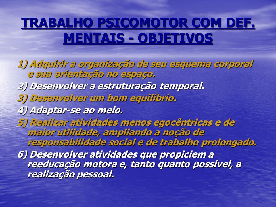 TRABALHO PSICOMOTOR COM DEF. MENTAIS - OBJETIVOS