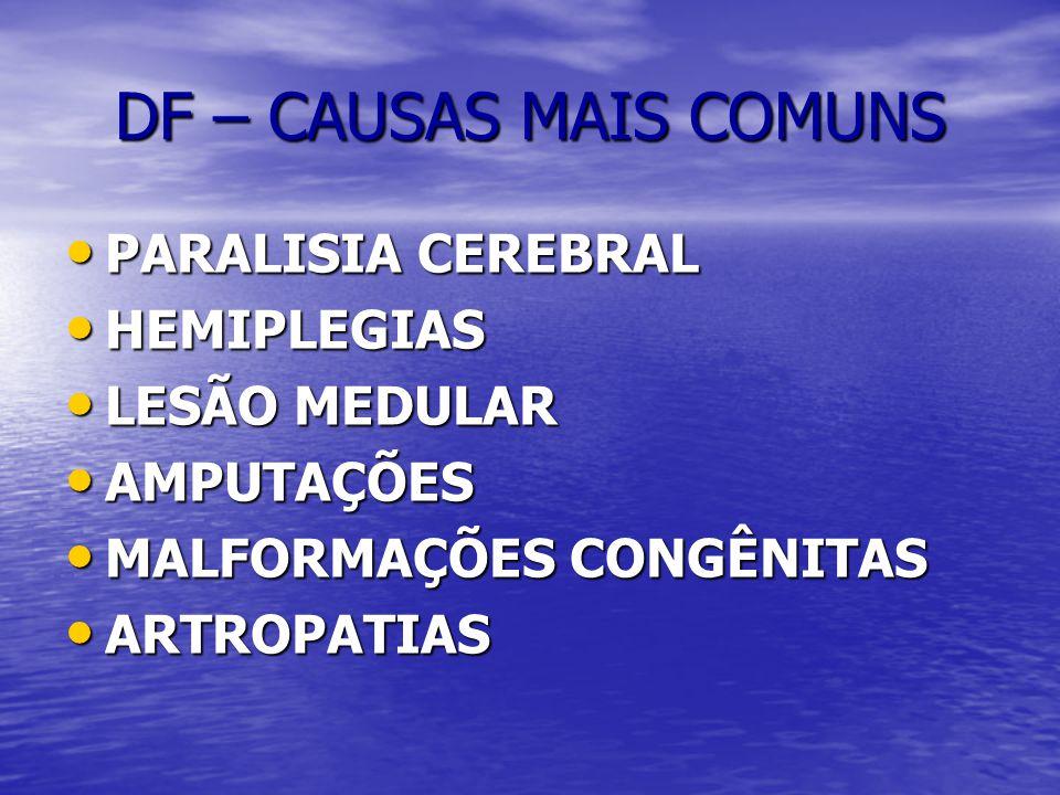 DF – CAUSAS MAIS COMUNS PARALISIA CEREBRAL HEMIPLEGIAS LESÃO MEDULAR