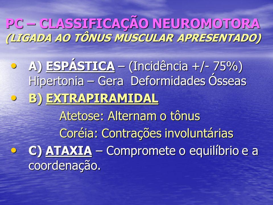 PC – CLASSIFICAÇÃO NEUROMOTORA (LIGADA AO TÔNUS MUSCULAR APRESENTADO)