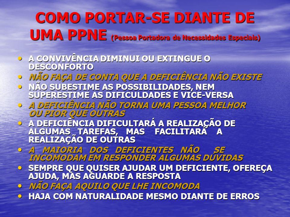 COMO PORTAR-SE DIANTE DE UMA PPNE (Pessoa Portadora de Necessidades Especiais)