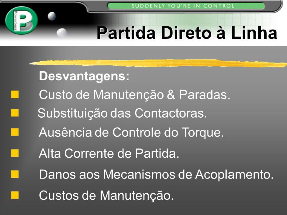 Partida Direto à Linha Desvantagens: Custo de Manutenção & Paradas.