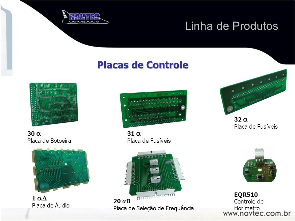 Linha de Produtos Placas de Controle 32  Placa de Fusíveis 30 