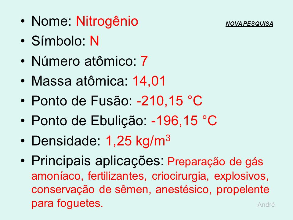 Nome: Nitrogênio NOVA PESQUISA