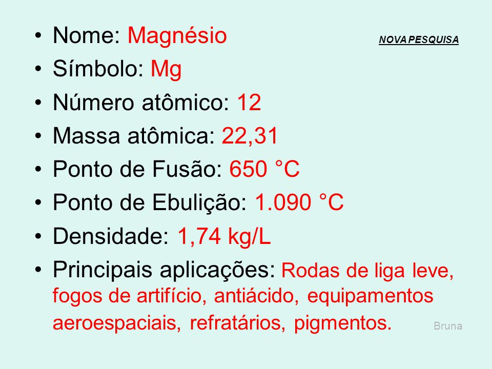 Nome: Magnésio NOVA PESQUISA