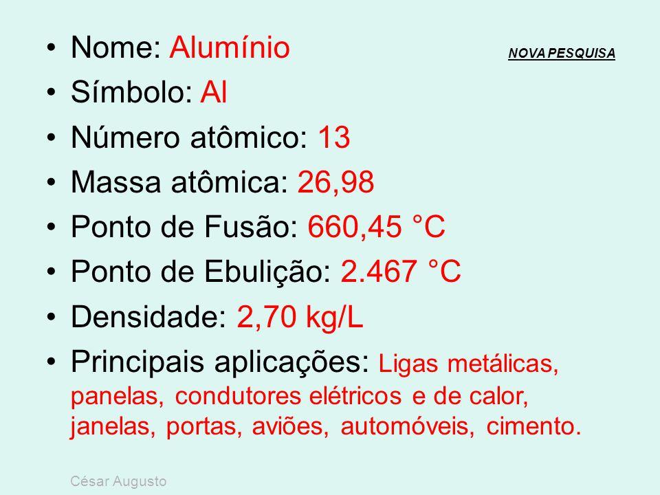 Nome: Alumínio NOVA PESQUISA