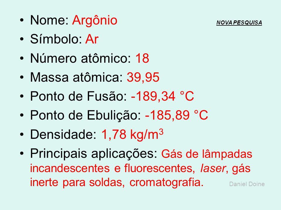Nome: Argônio NOVA PESQUISA