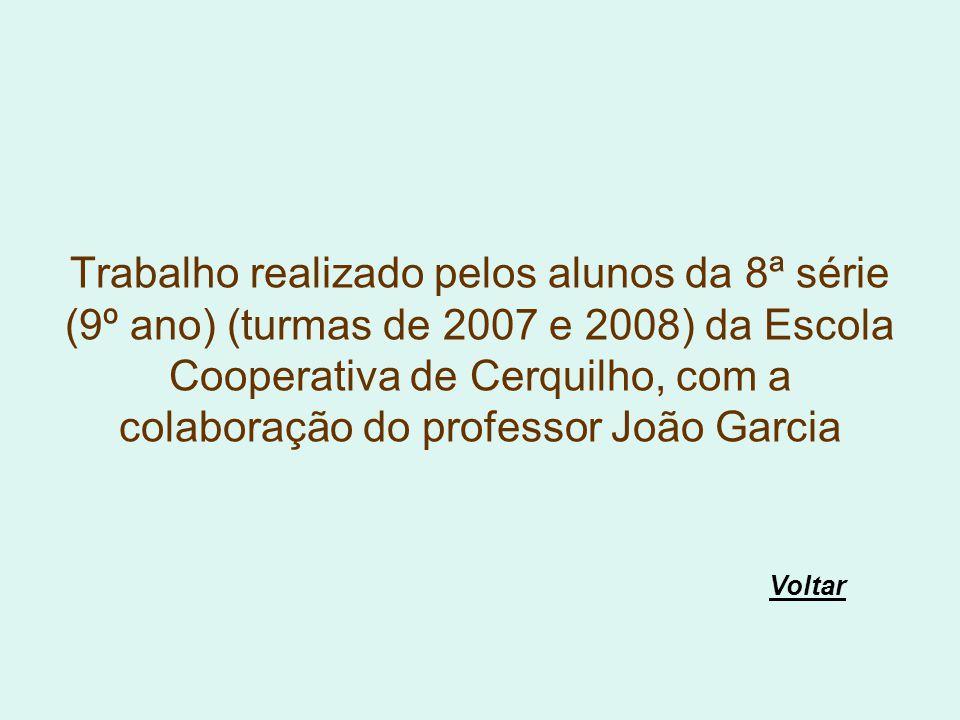 Trabalho realizado pelos alunos da 8ª série (9º ano) (turmas de 2007 e 2008) da Escola Cooperativa de Cerquilho, com a colaboração do professor João Garcia