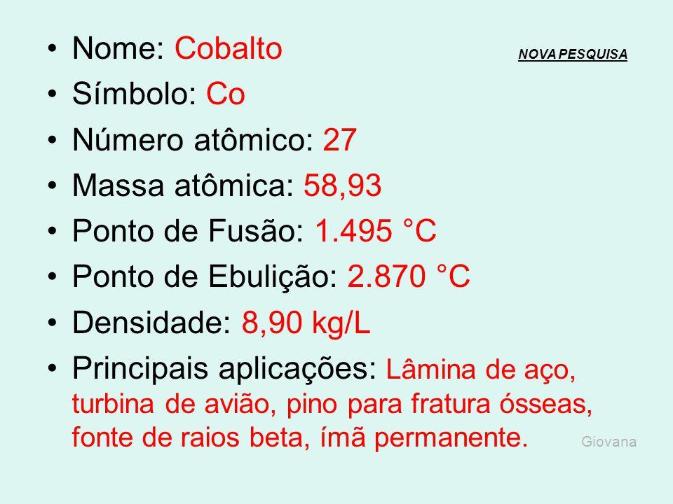 Nome: Cobalto NOVA PESQUISA