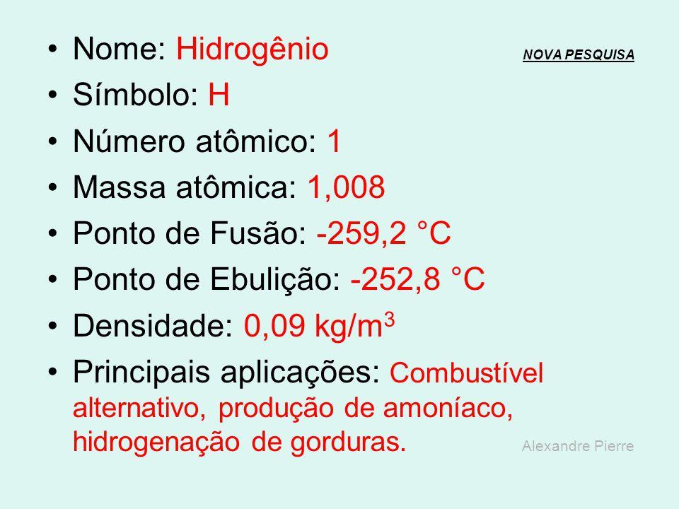Nome: Hidrogênio NOVA PESQUISA