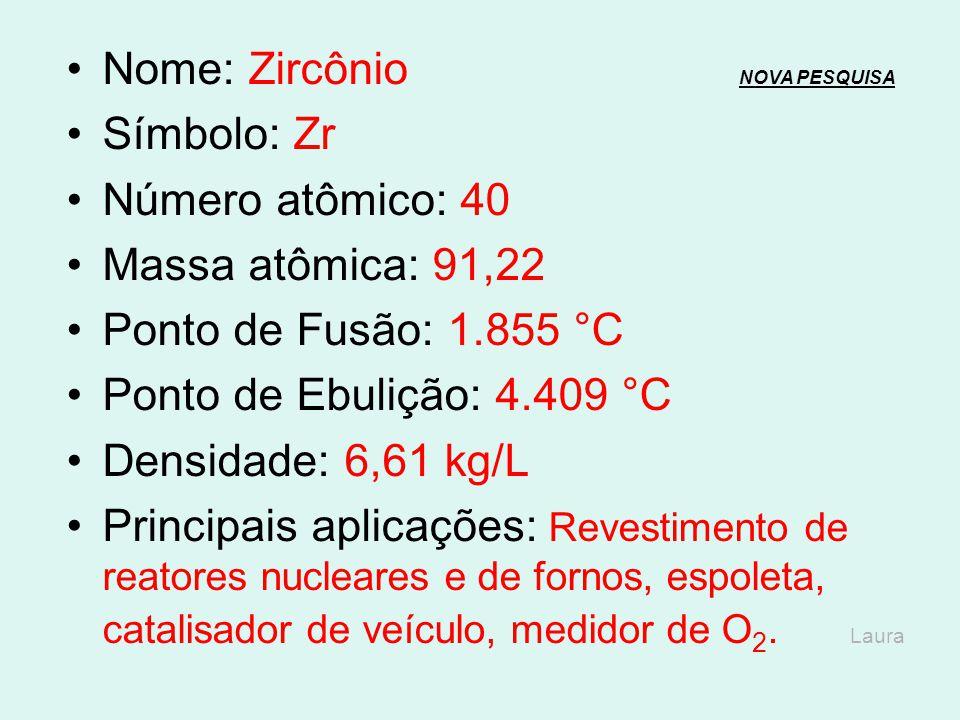 Nome: Zircônio NOVA PESQUISA