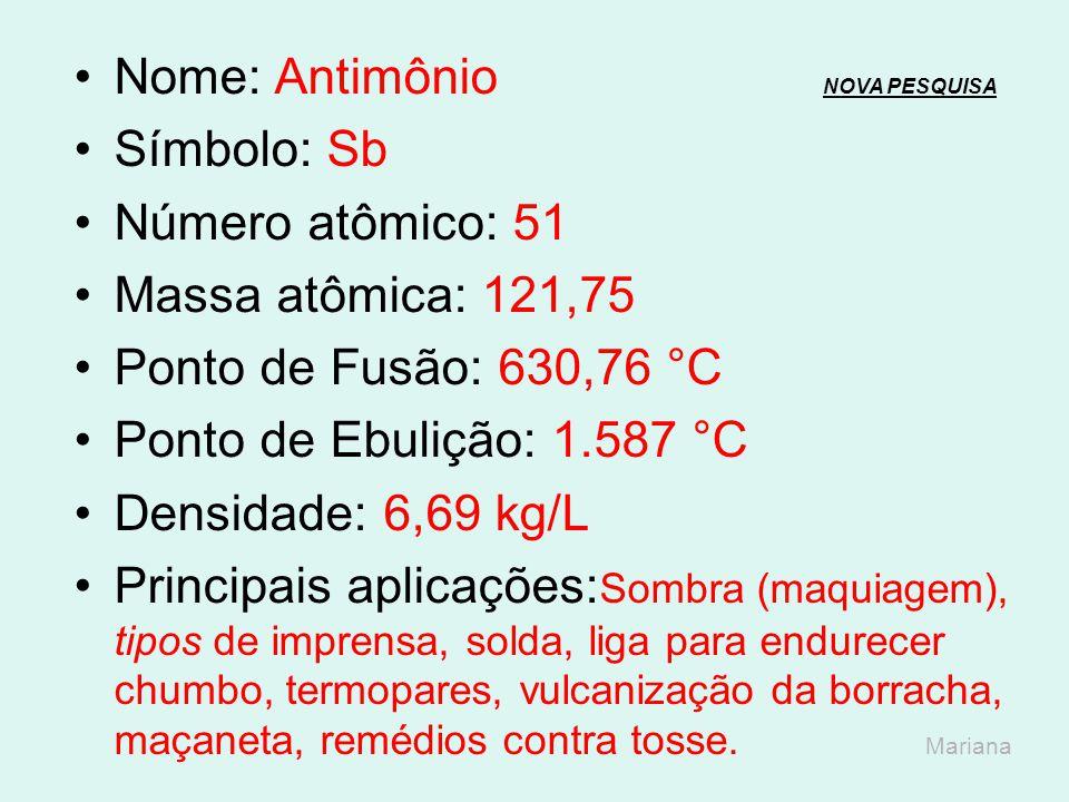 Nome: Antimônio NOVA PESQUISA
