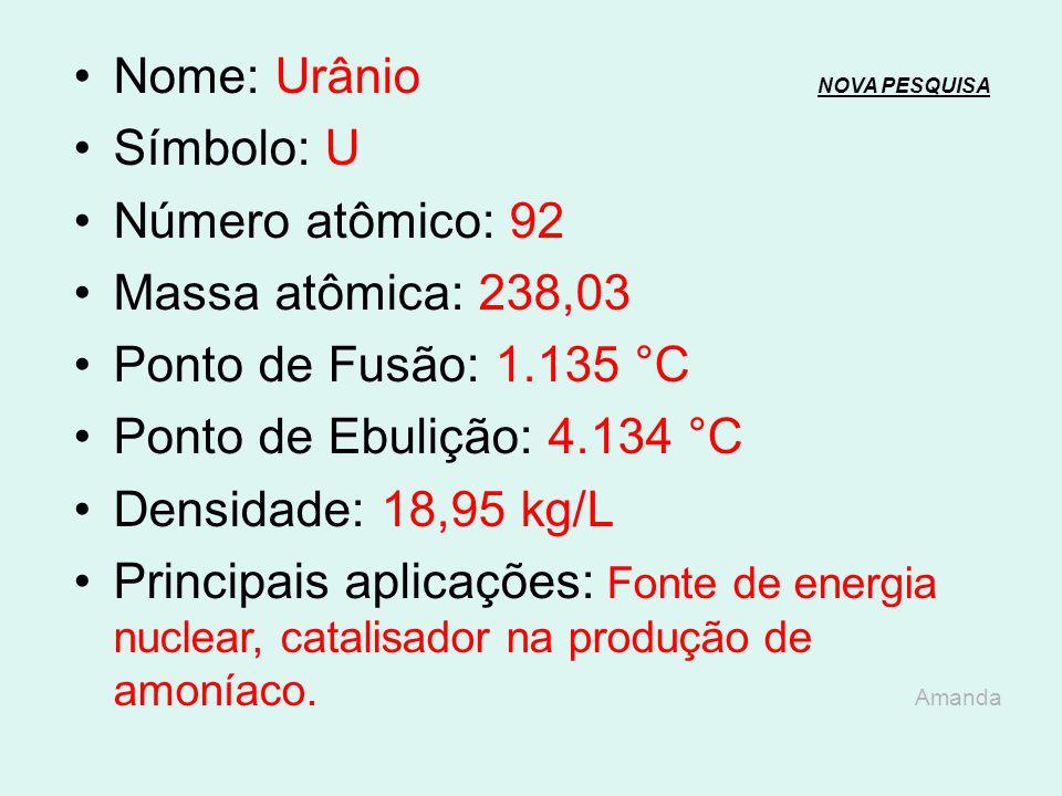 Nome: Urânio NOVA PESQUISA