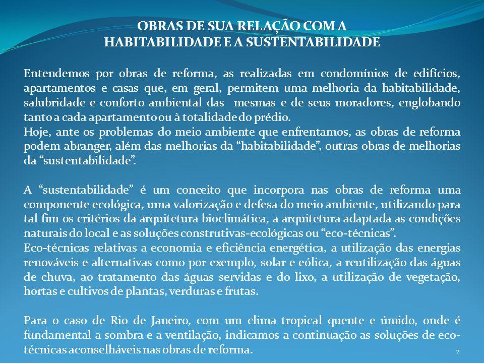 OBRAS DE SUA RELAÇÃO COM A HABITABILIDADE E A SUSTENTABILIDADE