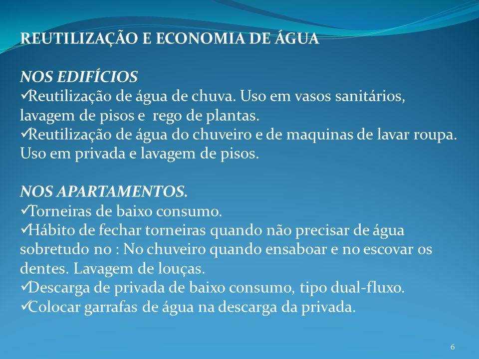 REUTILIZAÇÃO E ECONOMIA DE ÁGUA