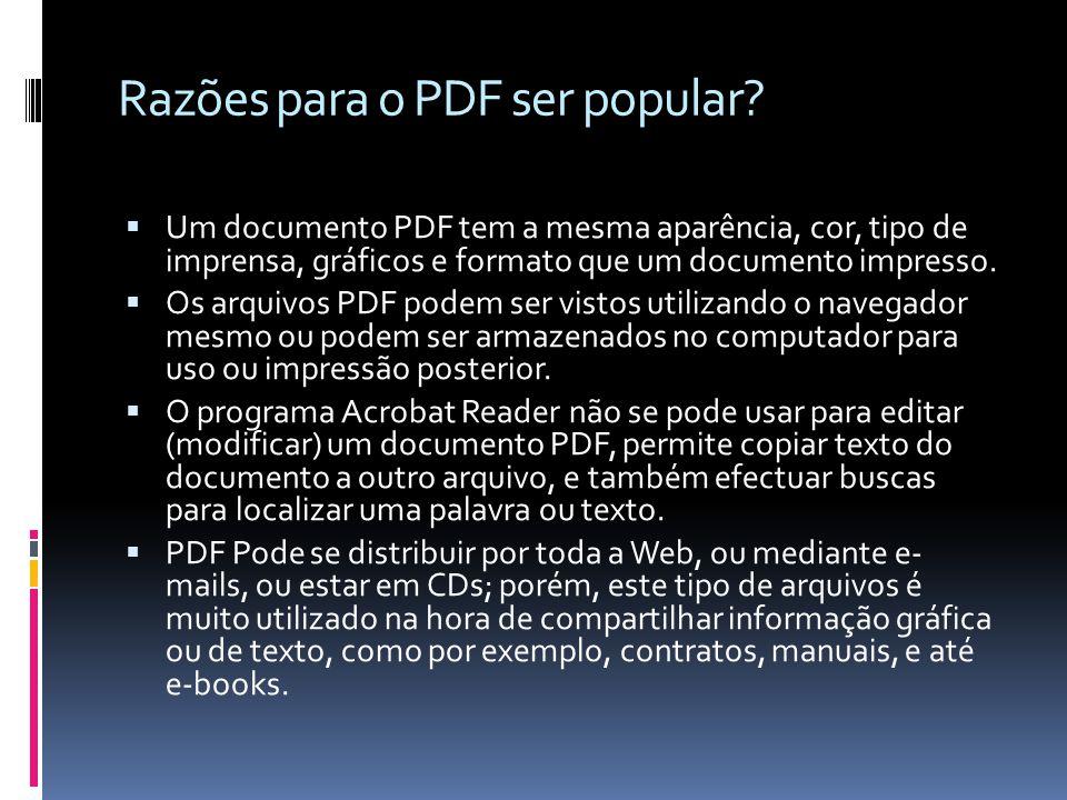 Razões para o PDF ser popular