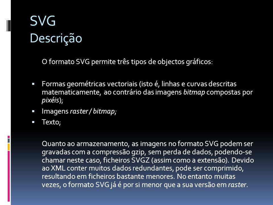 SVG Descrição O formato SVG permite três tipos de objectos gráficos: