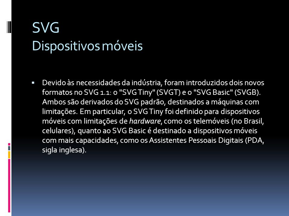 SVG Dispositivos móveis